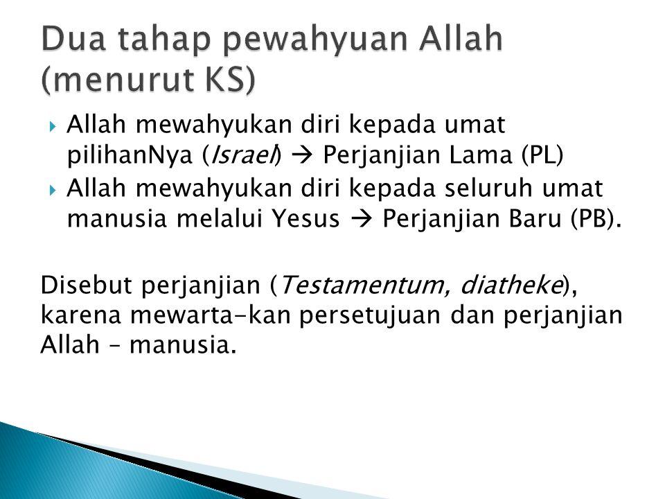 Dua tahap pewahyuan Allah (menurut KS)