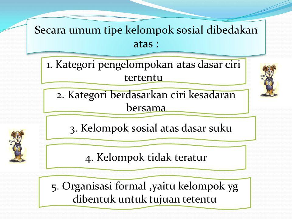 Secara umum tipe kelompok sosial dibedakan atas :