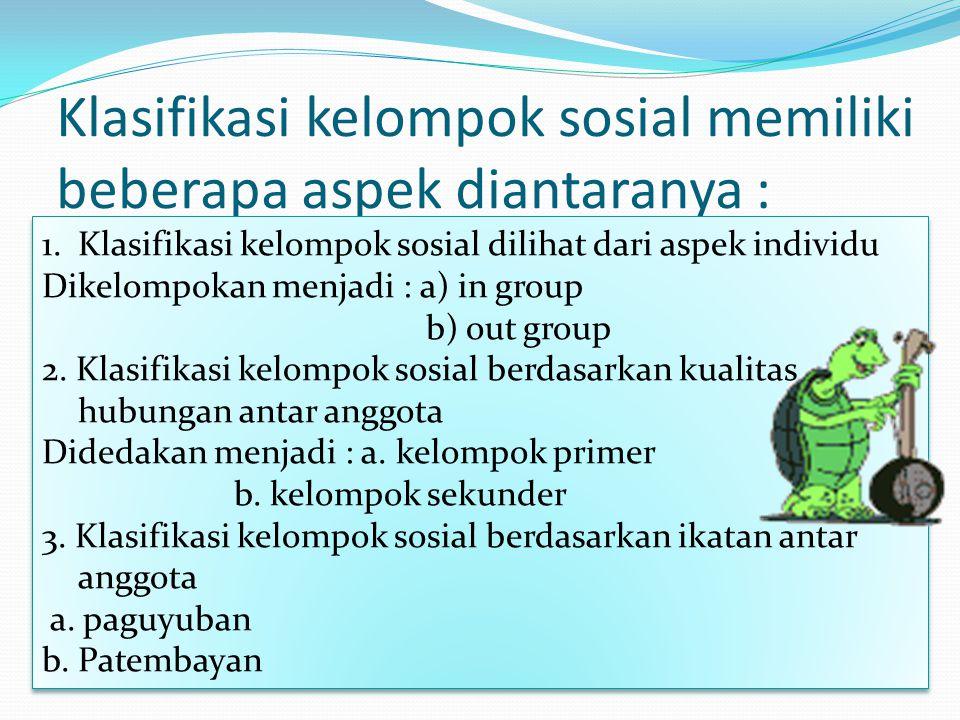Klasifikasi kelompok sosial memiliki beberapa aspek diantaranya :