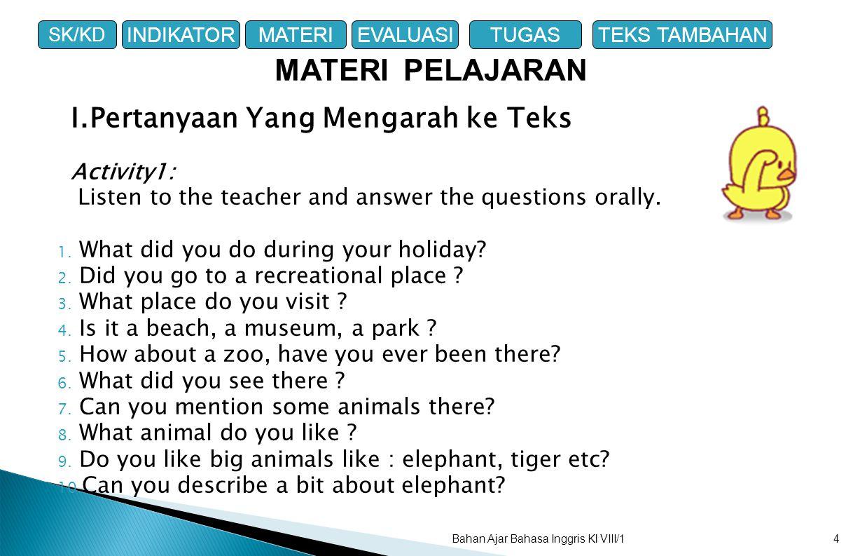 MATERI PELAJARAN I.Pertanyaan Yang Mengarah ke Teks Activity1: