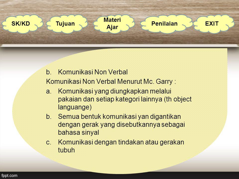 Komunikasi Non Verbal Menurut Mc. Garry :