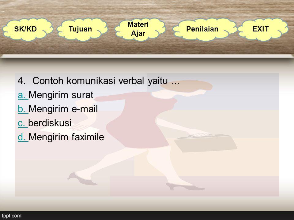 Contoh komunikasi verbal yaitu ... a. Mengirim surat