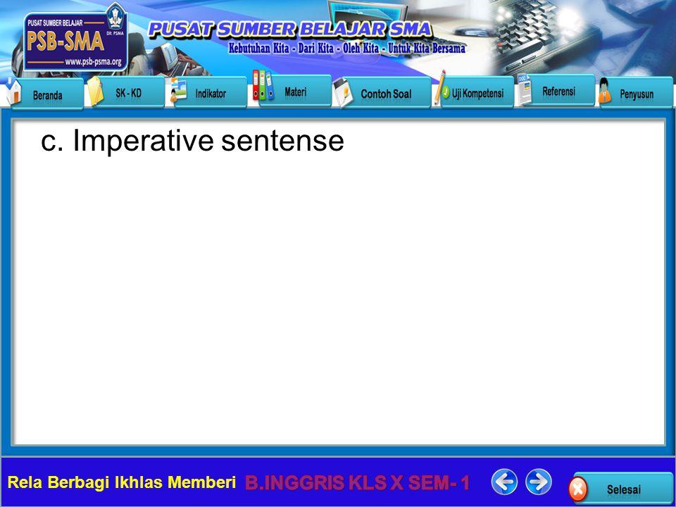 c. Imperative sentense