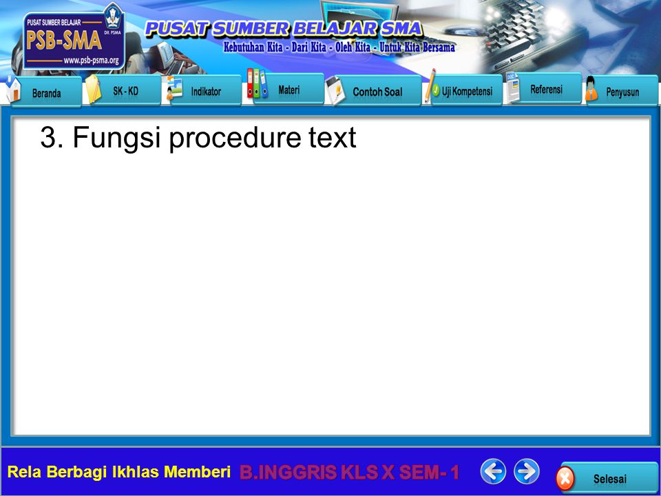 3. Fungsi procedure text