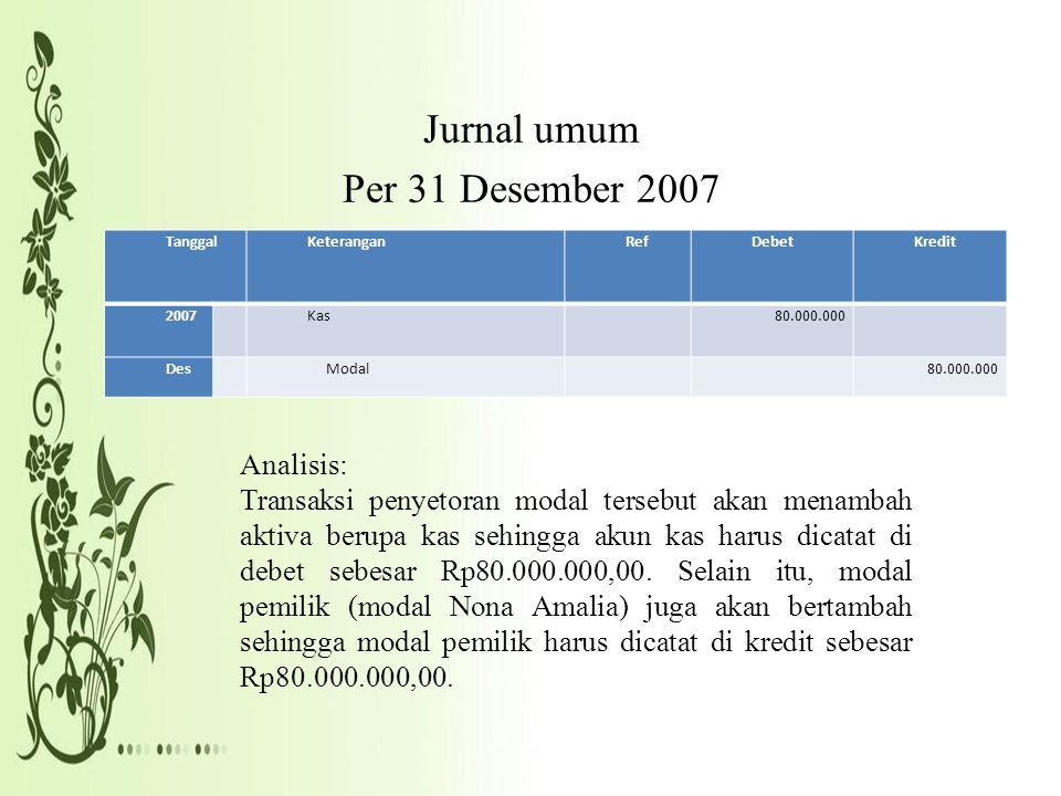 Jurnal umum Per 31 Desember 2007
