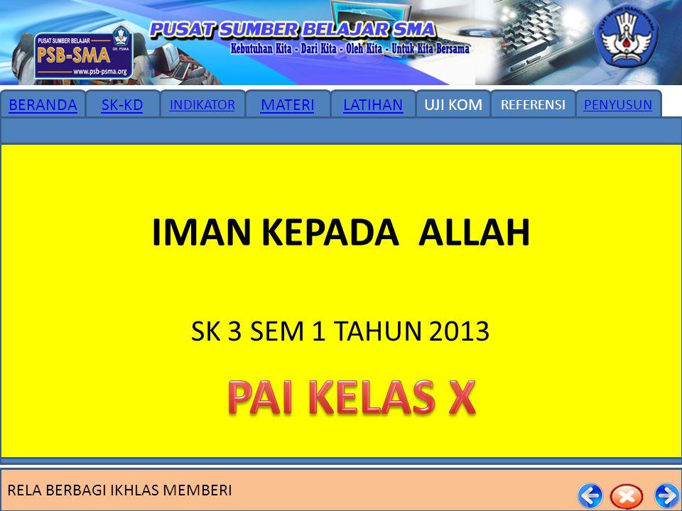 IMAN KEPADA ALLAH SK 3 SEM 1 TAHUN 2013 PAI KELAS X