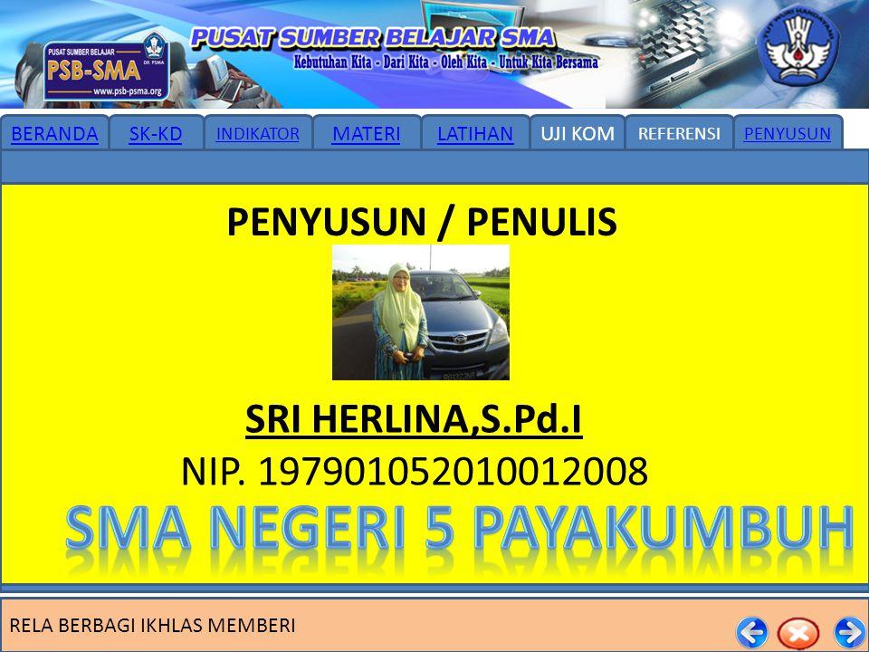 SMA NEGERI 5 PAYAKUMBUH PENYUSUN / PENULIS SRI HERLINA,S.Pd.I