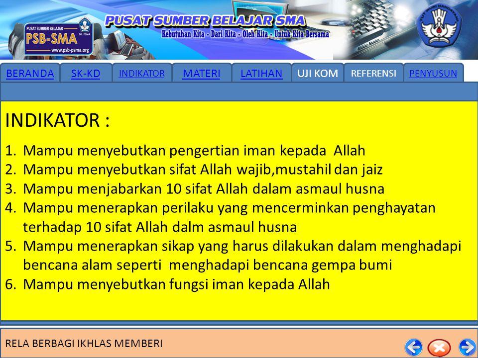 INDIKATOR : Mampu menyebutkan pengertian iman kepada Allah