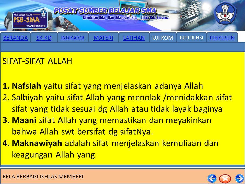 SIFAT-SIFAT ALLAH Nafsiah yaitu sifat yang menjelaskan adanya Allah.