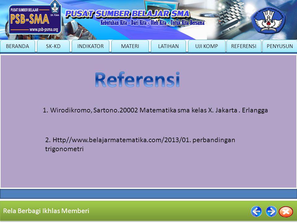 Referensi 1. Wirodikromo, Sartono.20002 Matematika sma kelas X. Jakarta . Erlangga.