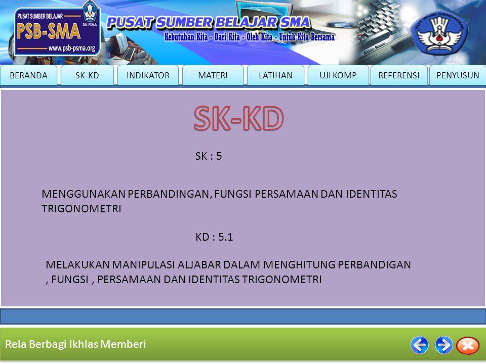 SK-KD SK : 5. MENGGUNAKAN PERBANDINGAN, FUNGSI PERSAMAAN DAN IDENTITAS TRIGONOMETRI. KD : 5.1.
