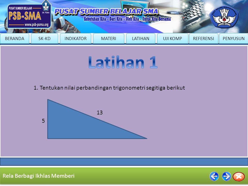 Latihan 1 1. Tentukan nilai perbandingan trigonometri segitiga berikut