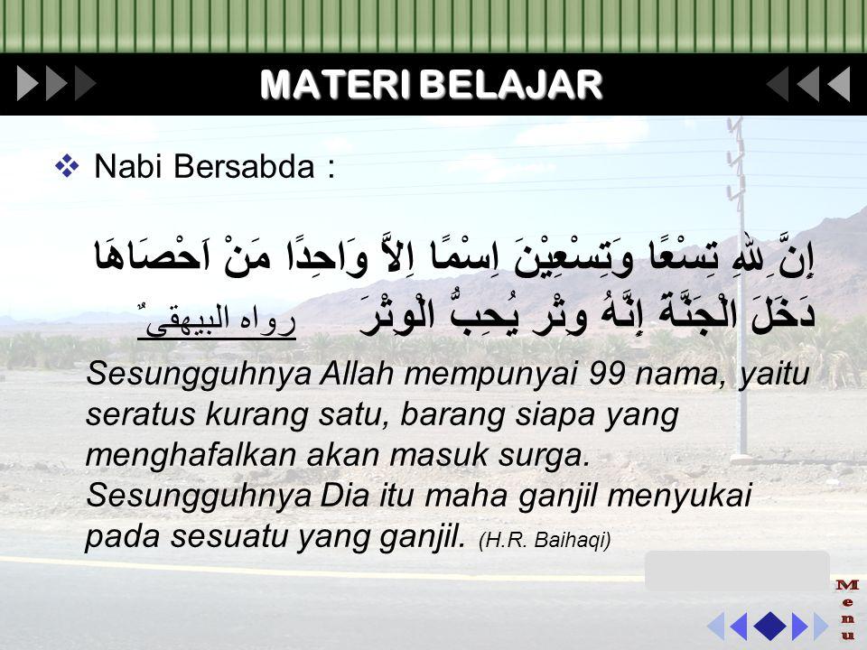 MATERI BELAJAR Nabi Bersabda :