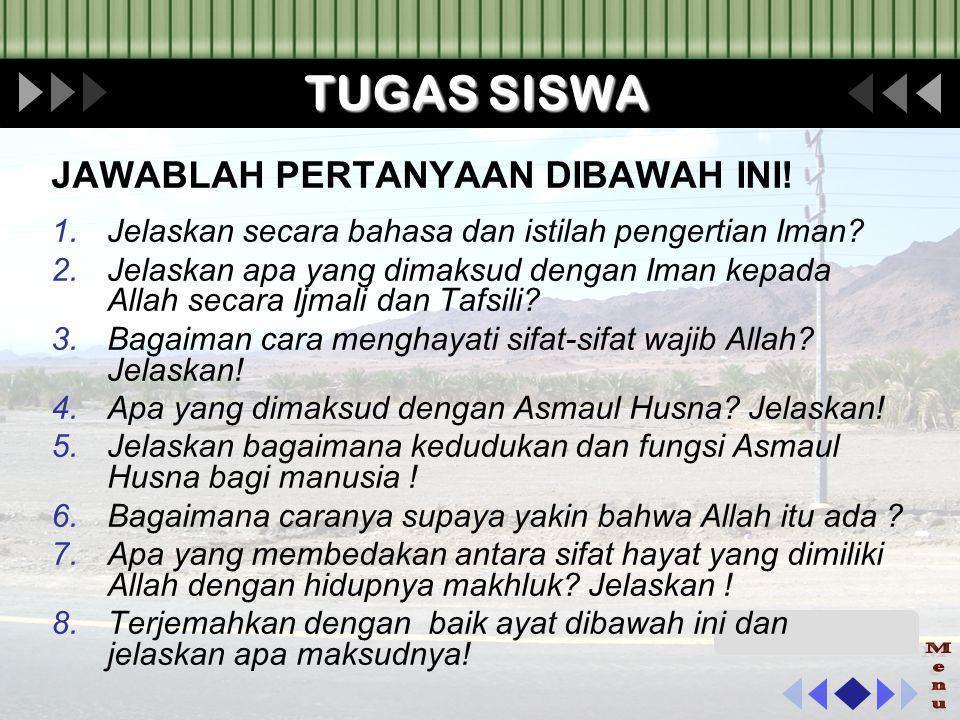 TUGAS SISWA Menu JAWABLAH PERTANYAAN DIBAWAH INI!