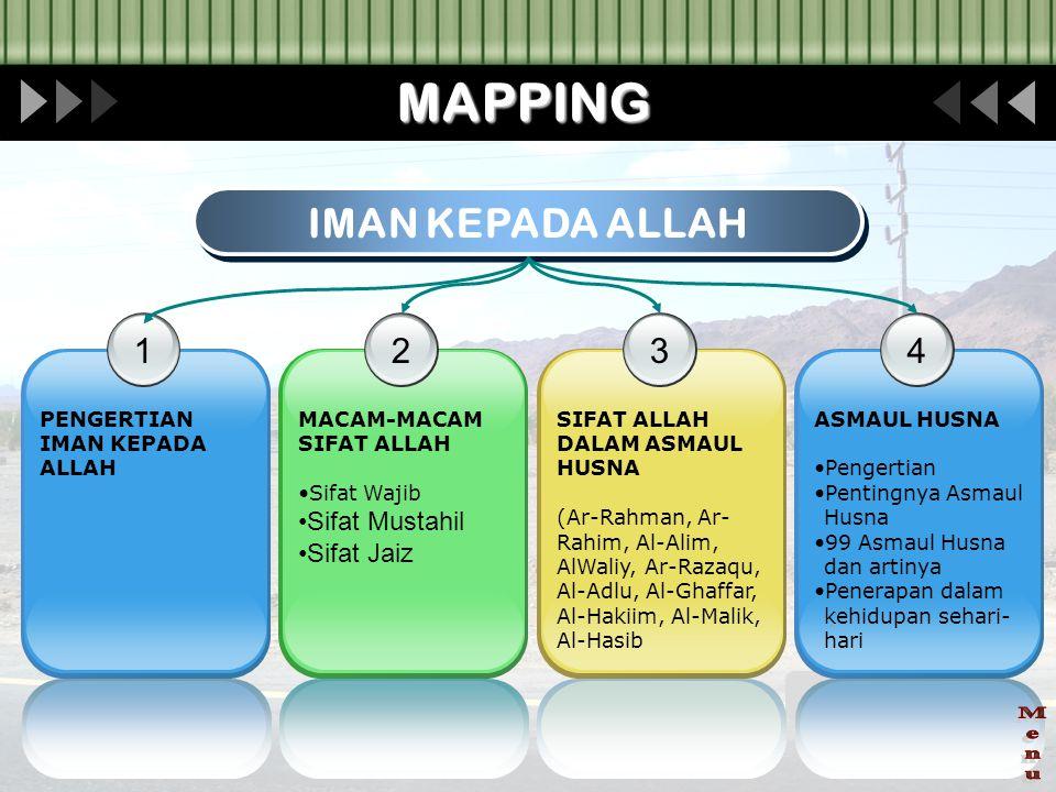 MAPPING Menu IMAN KEPADA ALLAH 1 2 3 4 Sifat Mustahil Sifat Jaiz
