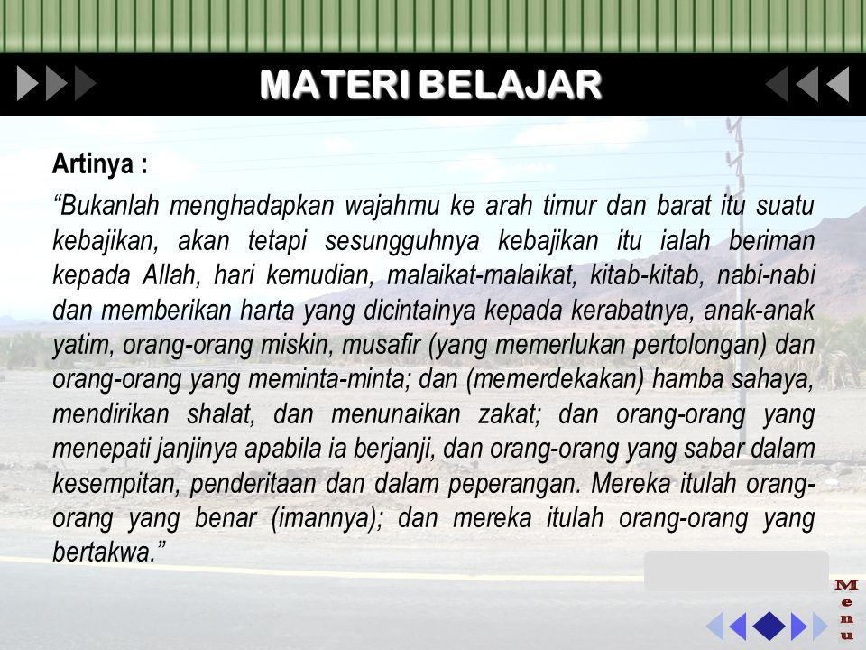 Menu MATERI BELAJAR Artinya :