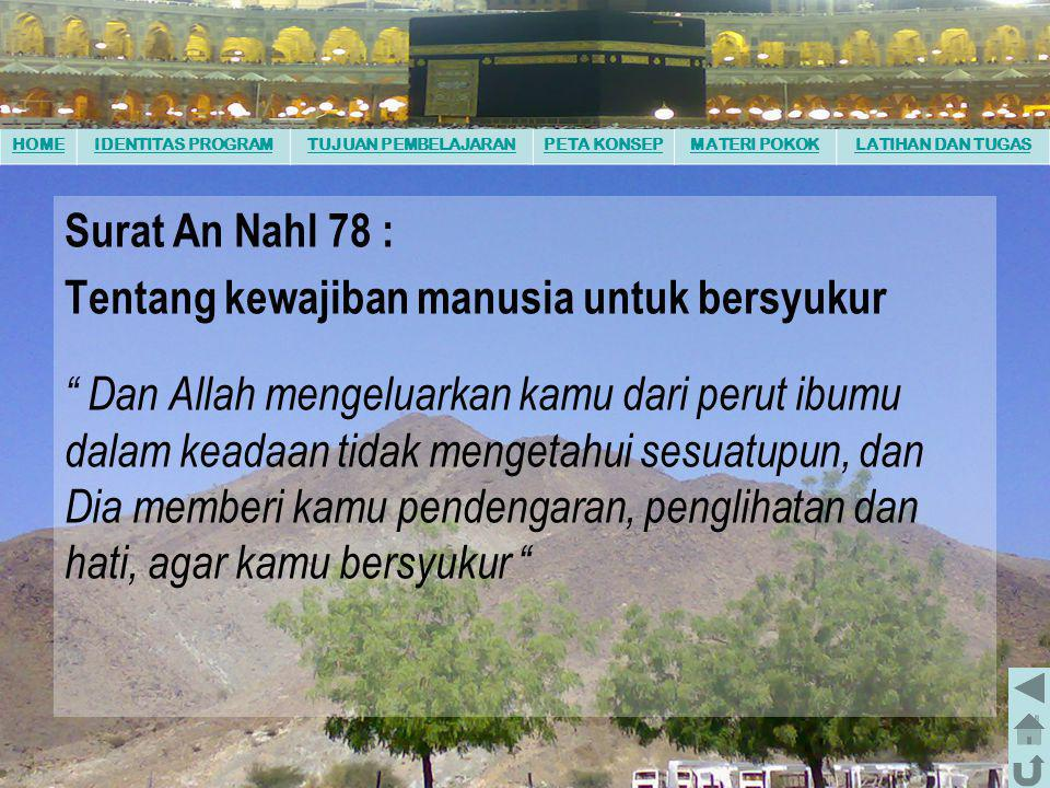 Surat An Nahl 78 : Tentang kewajiban manusia untuk bersyukur.