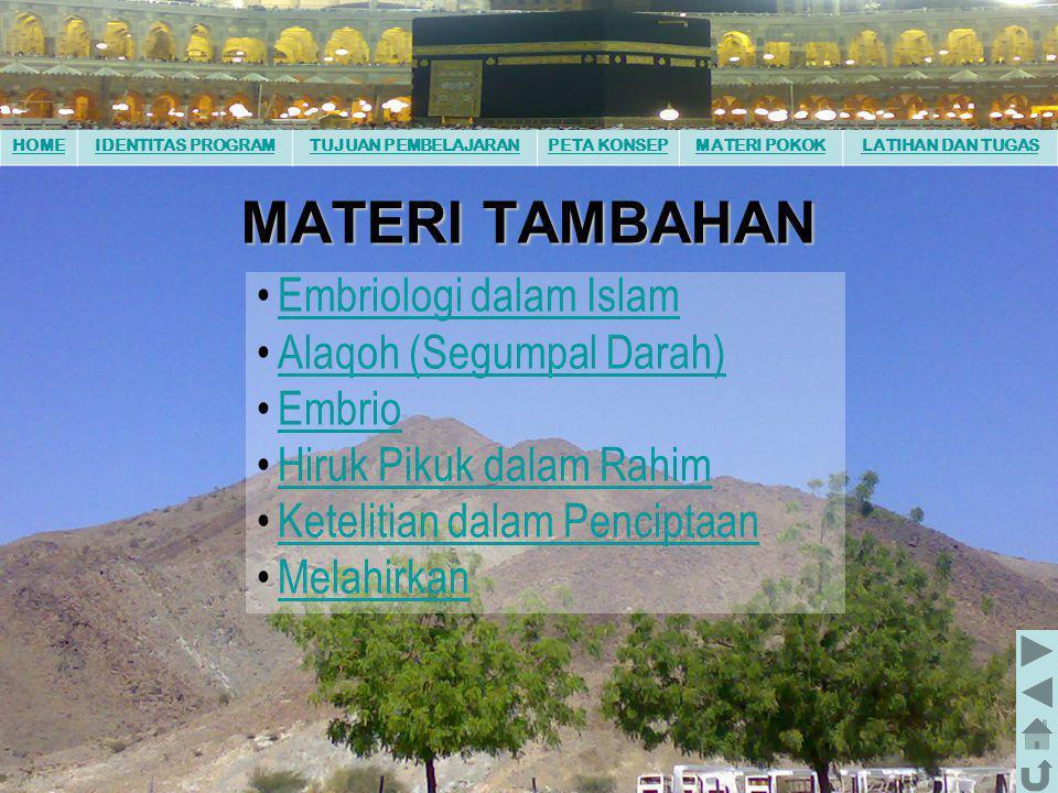 MATERI TAMBAHAN Embriologi dalam Islam Alaqoh (Segumpal Darah) Embrio