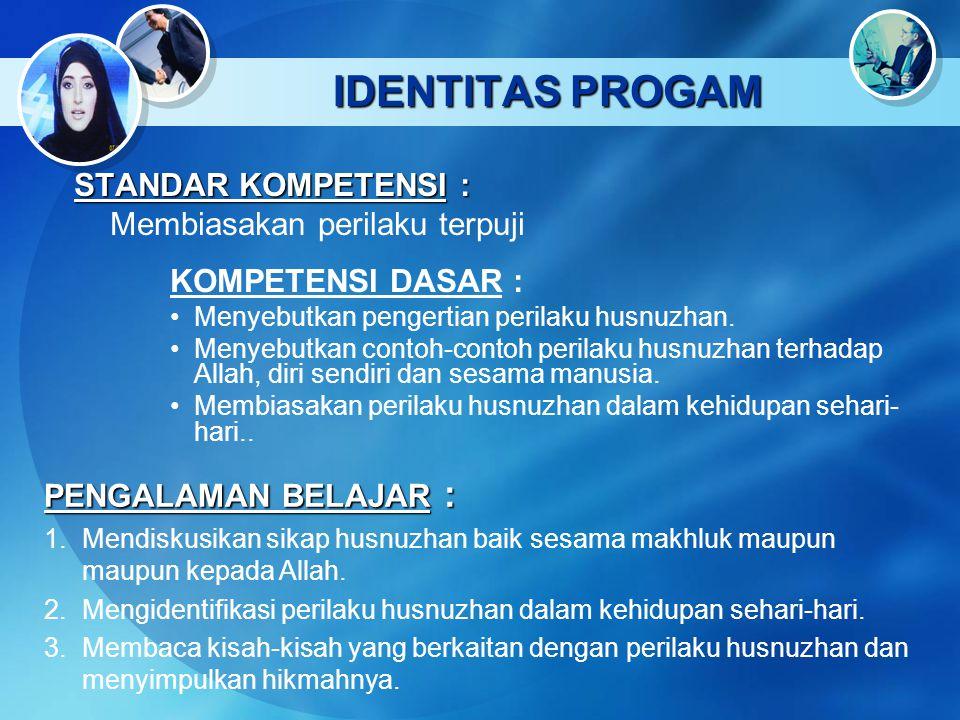 IDENTITAS PROGAM STANDAR KOMPETENSI : Membiasakan perilaku terpuji