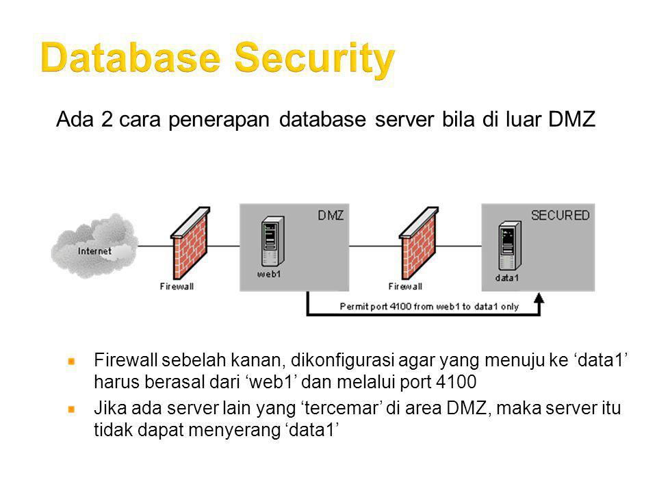 Database Security Ada 2 cara penerapan database server bila di luar DMZ.