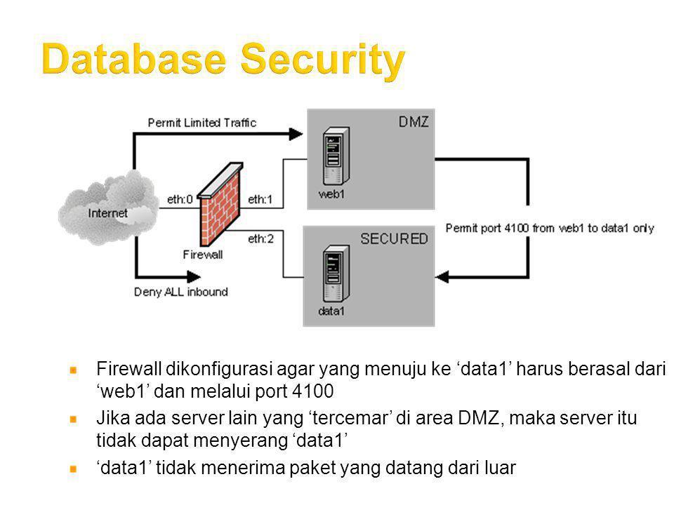 Database Security Firewall dikonfigurasi agar yang menuju ke 'data1' harus berasal dari 'web1' dan melalui port 4100.