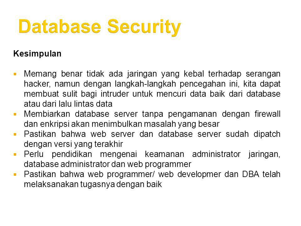 Database Security Kesimpulan