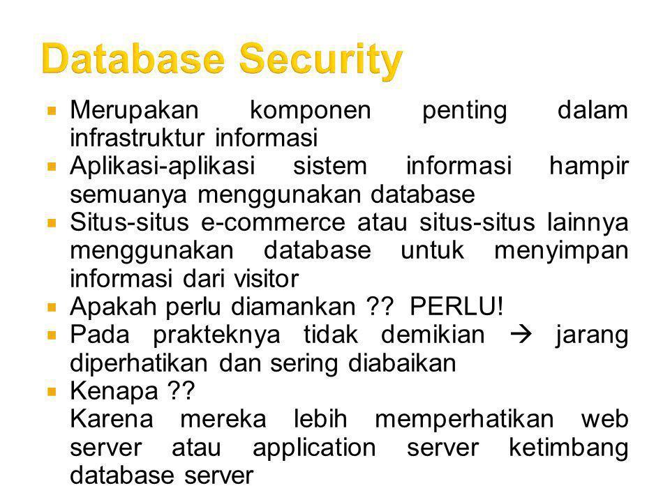 Database Security Merupakan komponen penting dalam infrastruktur informasi. Aplikasi-aplikasi sistem informasi hampir semuanya menggunakan database.