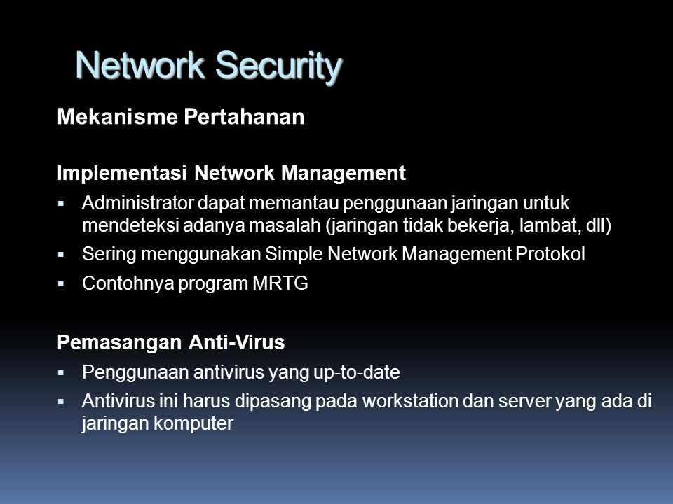 Network Security Mekanisme Pertahanan Implementasi Network Management