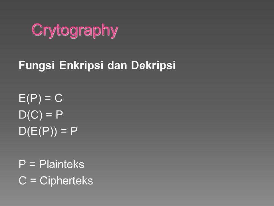 Crytography Fungsi Enkripsi dan Dekripsi E(P) = C D(C) = P D(E(P)) = P