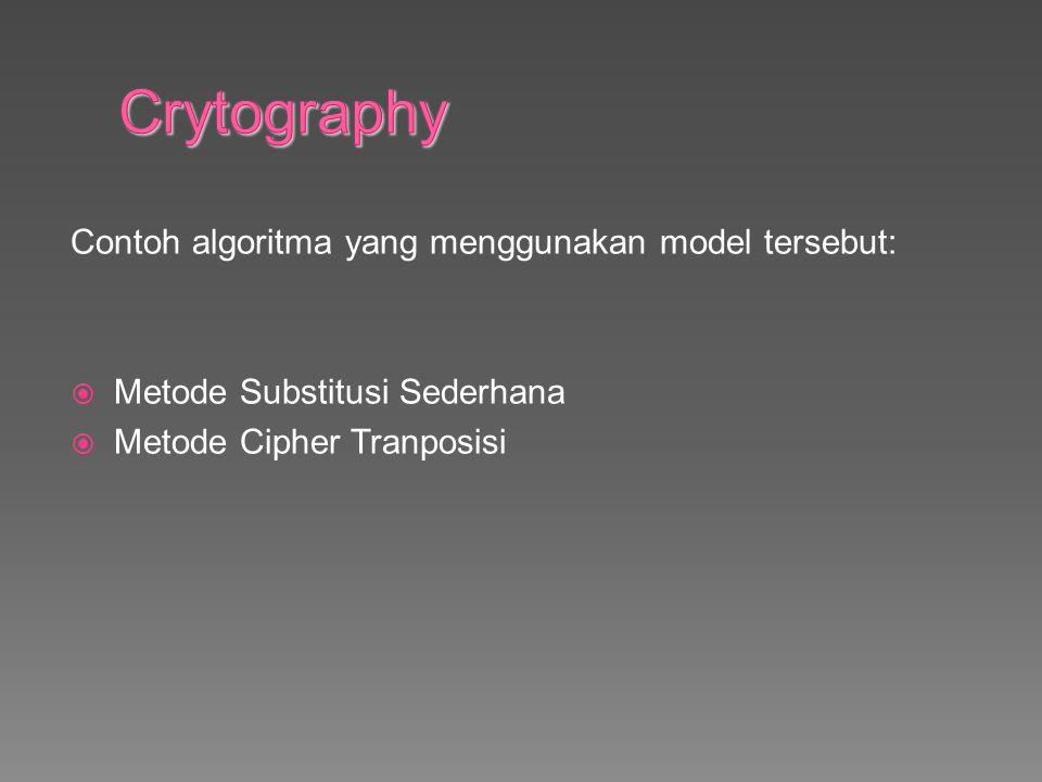 Crytography Contoh algoritma yang menggunakan model tersebut: