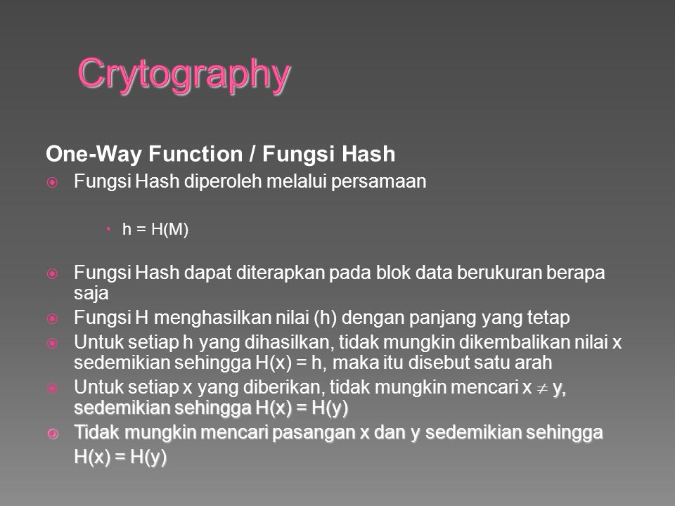Crytography One-Way Function / Fungsi Hash