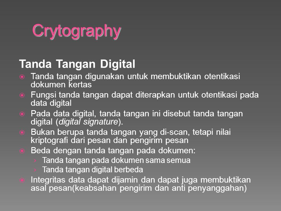 Crytography Tanda Tangan Digital