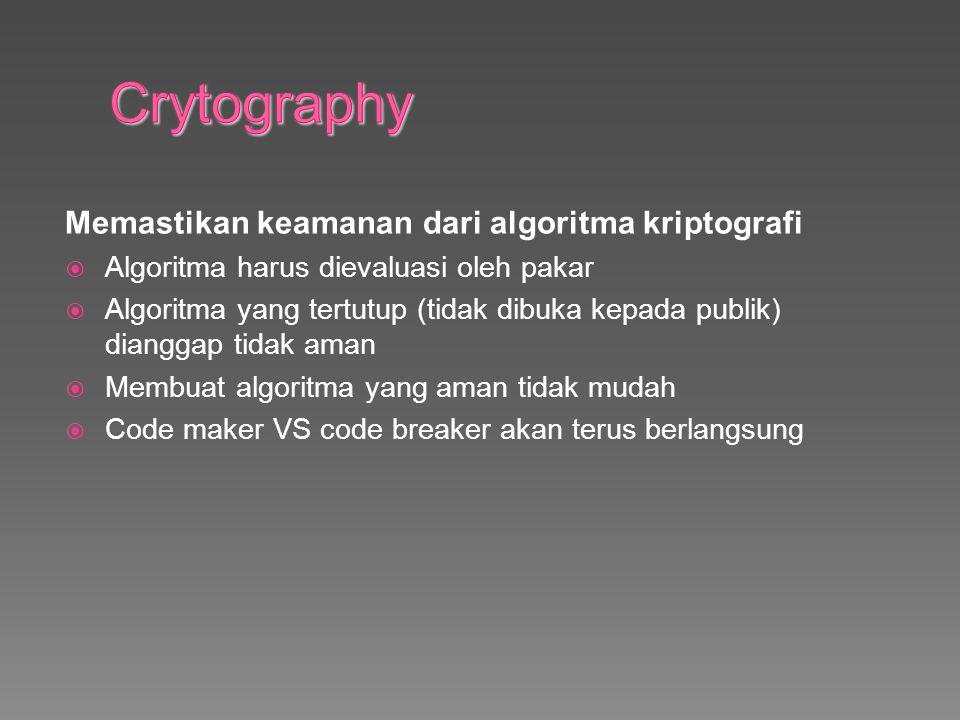 Crytography Memastikan keamanan dari algoritma kriptografi