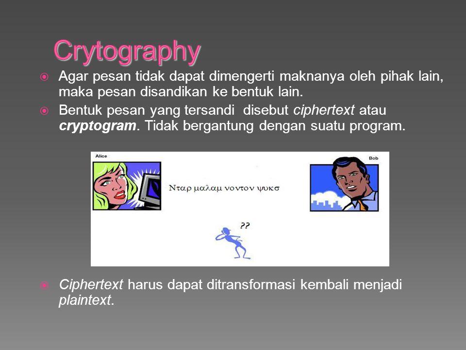 Crytography Agar pesan tidak dapat dimengerti maknanya oleh pihak lain, maka pesan disandikan ke bentuk lain.