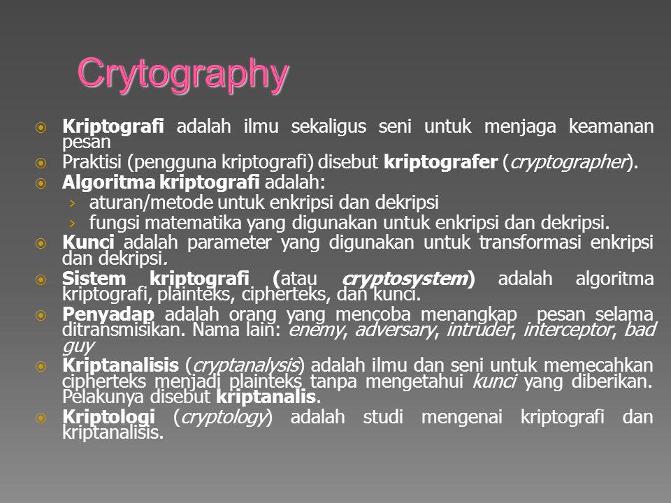 Crytography Kriptografi adalah ilmu sekaligus seni untuk menjaga keamanan pesan.
