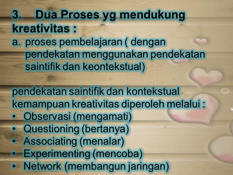 3. Dua Proses yg mendukung kreativitas :