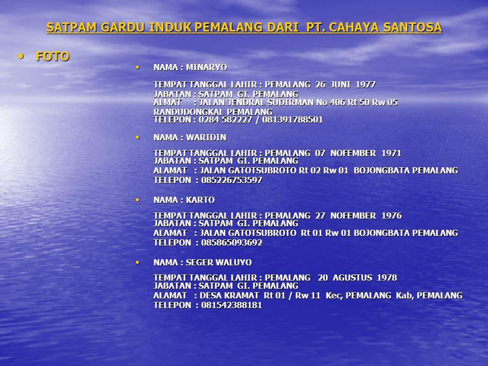 SATPAM GARDU INDUK PEMALANG DARI PT. CAHAYA SANTOSA