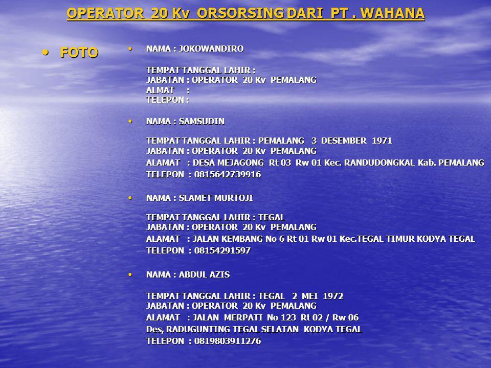 OPERATOR 20 Kv ORSORSING DARI PT . WAHANA