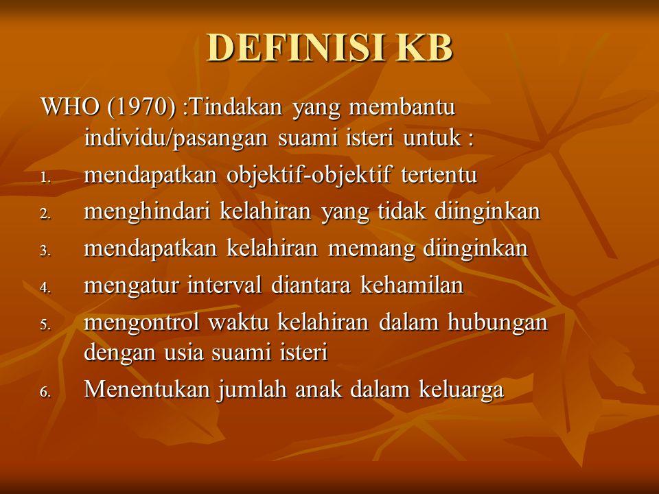 DEFINISI KB WHO (1970) :Tindakan yang membantu individu/pasangan suami isteri untuk : mendapatkan objektif-objektif tertentu.