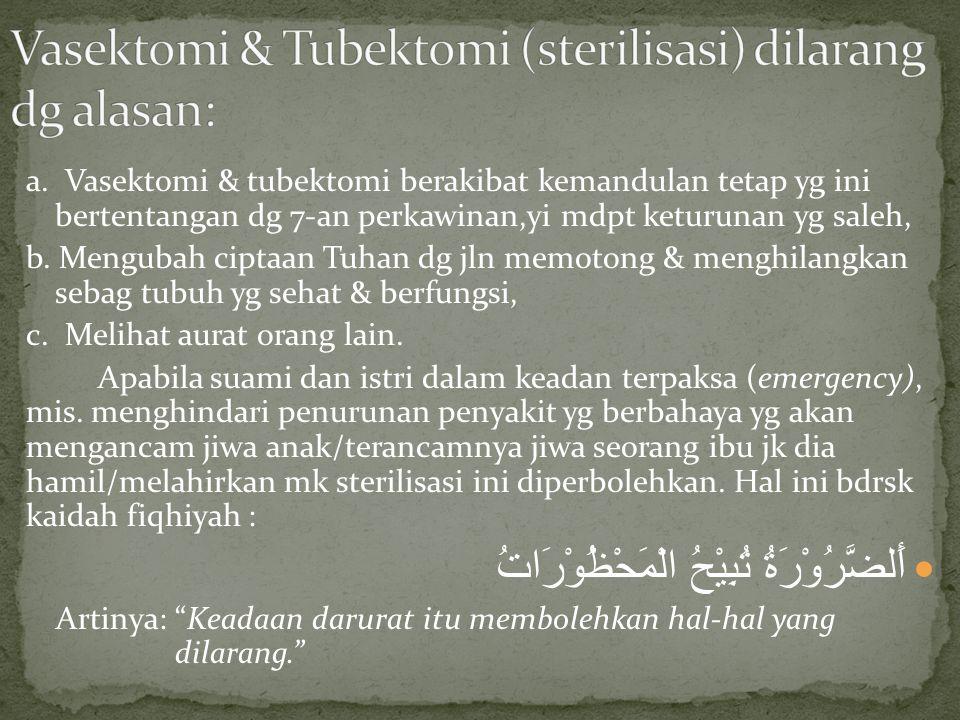 Vasektomi & Tubektomi (sterilisasi) dilarang dg alasan: