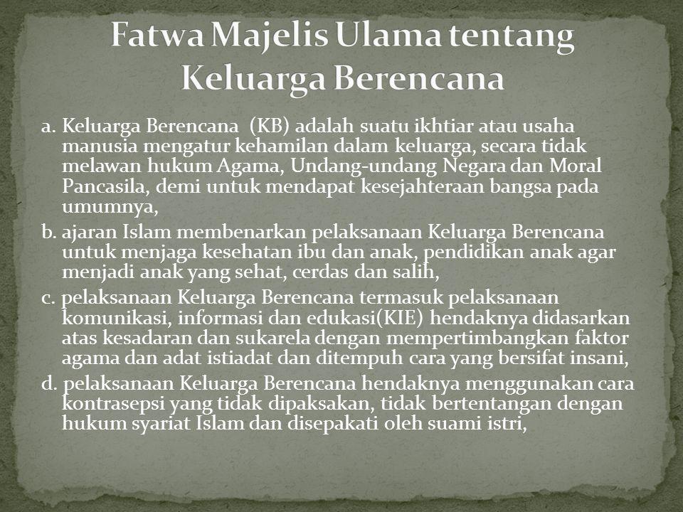 Fatwa Majelis Ulama tentang Keluarga Berencana