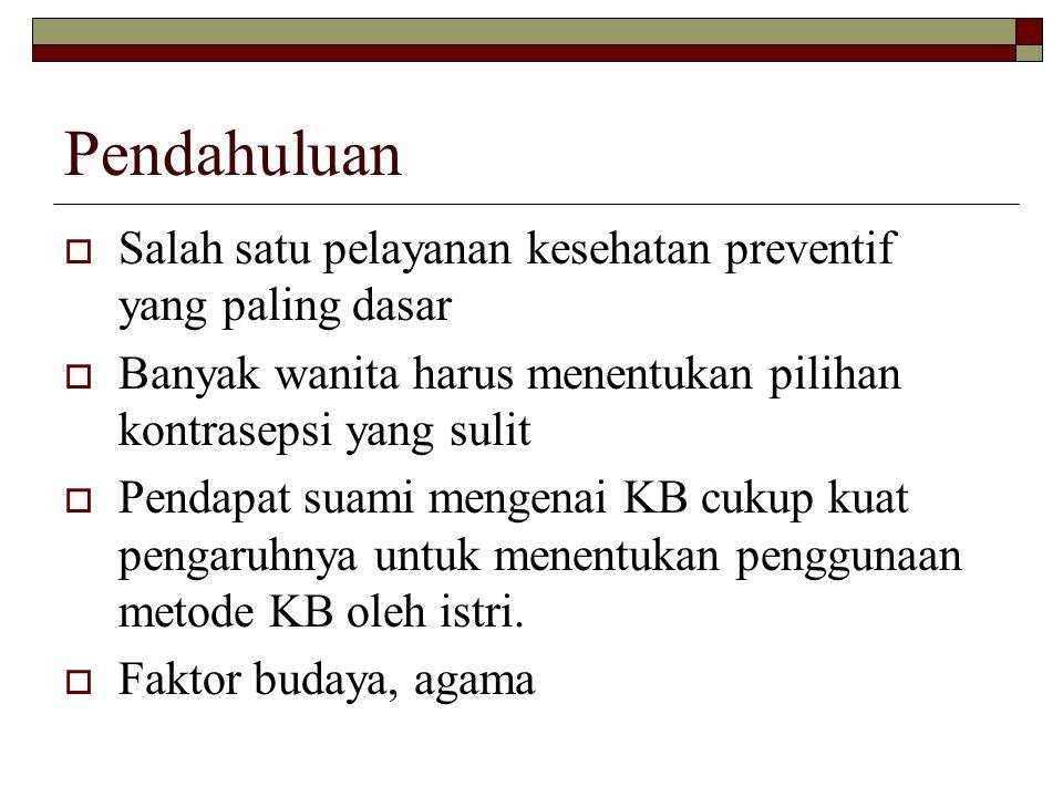 Pendahuluan Salah satu pelayanan kesehatan preventif yang paling dasar