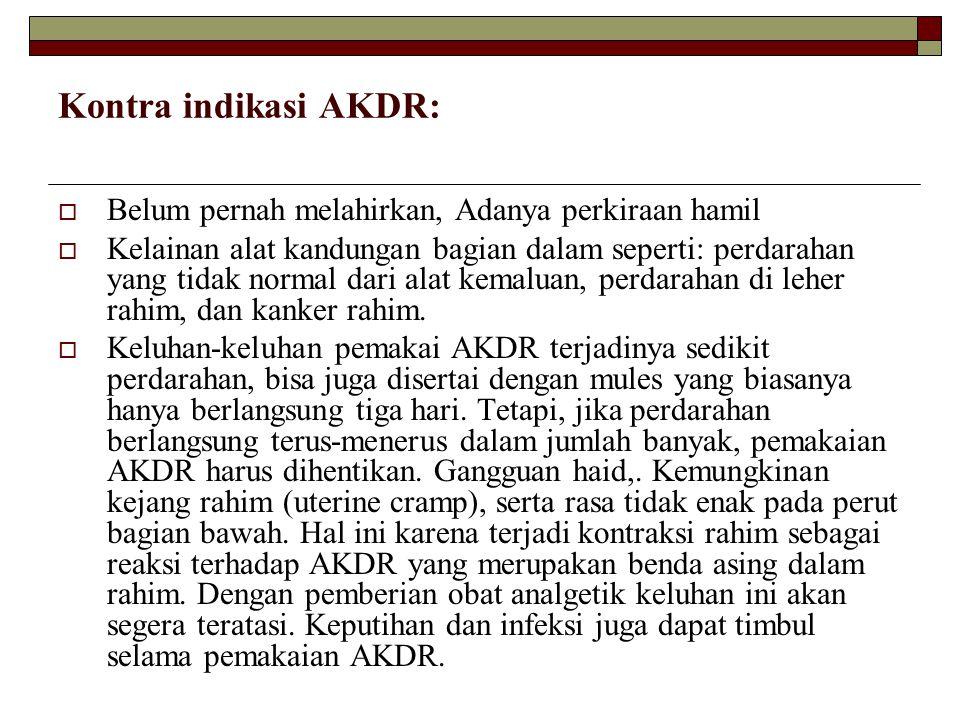 Kontra indikasi AKDR: Belum pernah melahirkan, Adanya perkiraan hamil