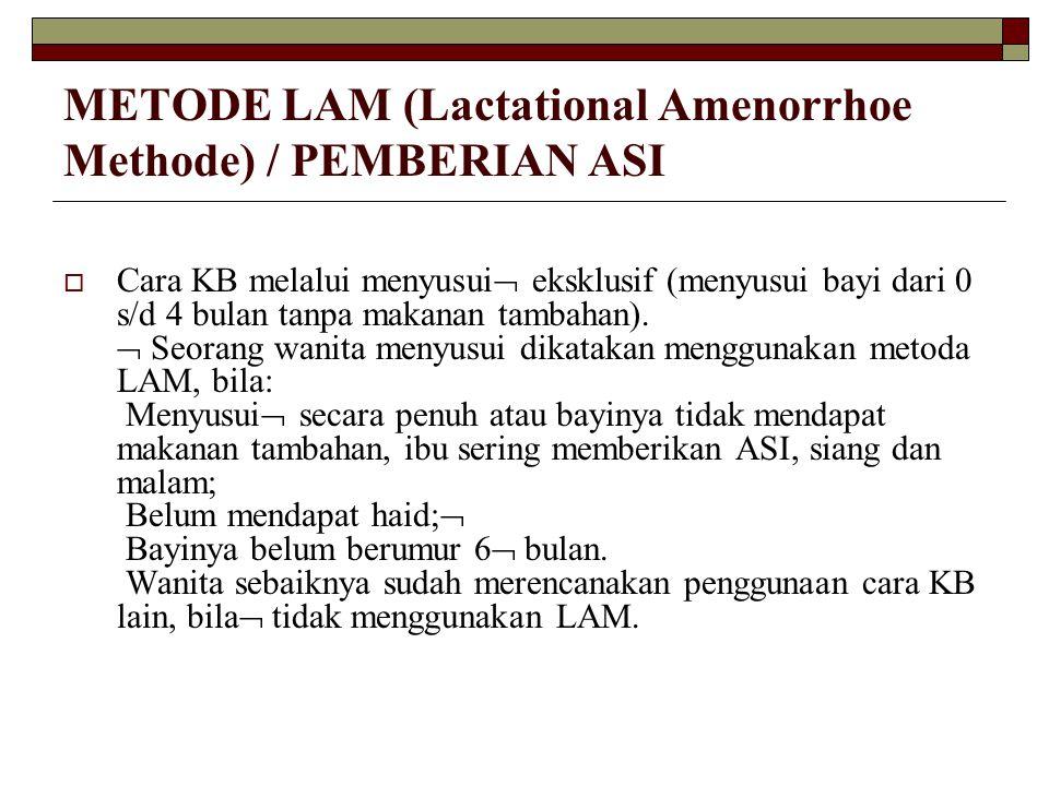 METODE LAM (Lactational Amenorrhoe Methode) / PEMBERIAN ASI