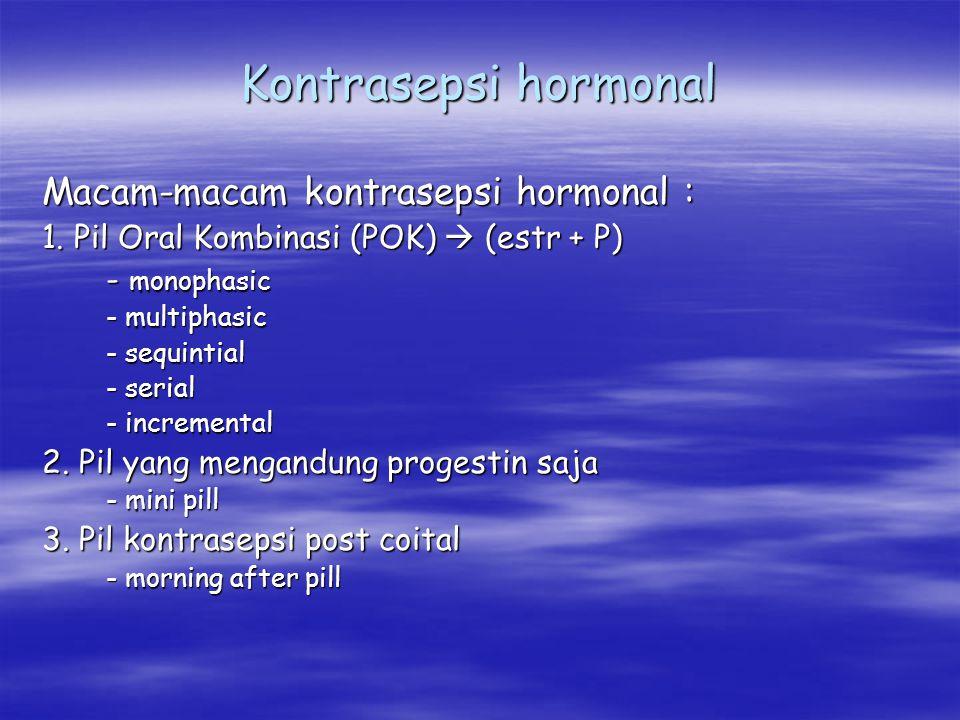 Kontrasepsi hormonal Macam-macam kontrasepsi hormonal :