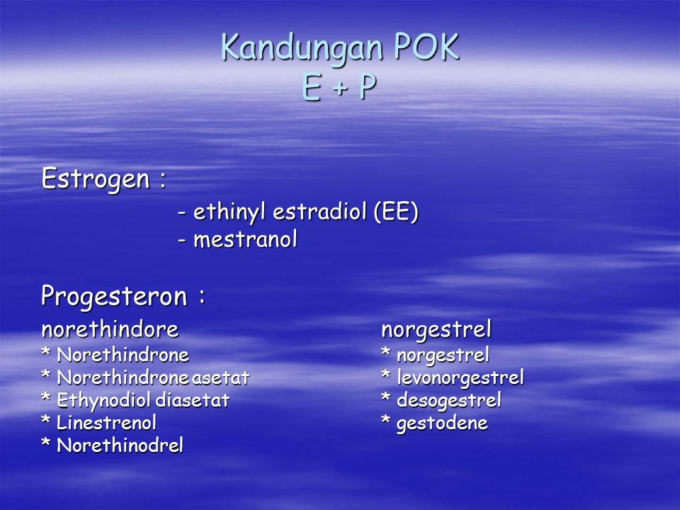 Kandungan POK E + P Estrogen : - ethinyl estradiol (EE) Progesteron :