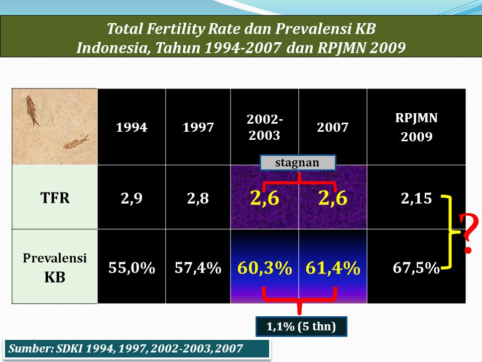 Total Fertility Rate dan Prevalensi KB Indonesia, Tahun 1994-2007 dan RPJMN 2009