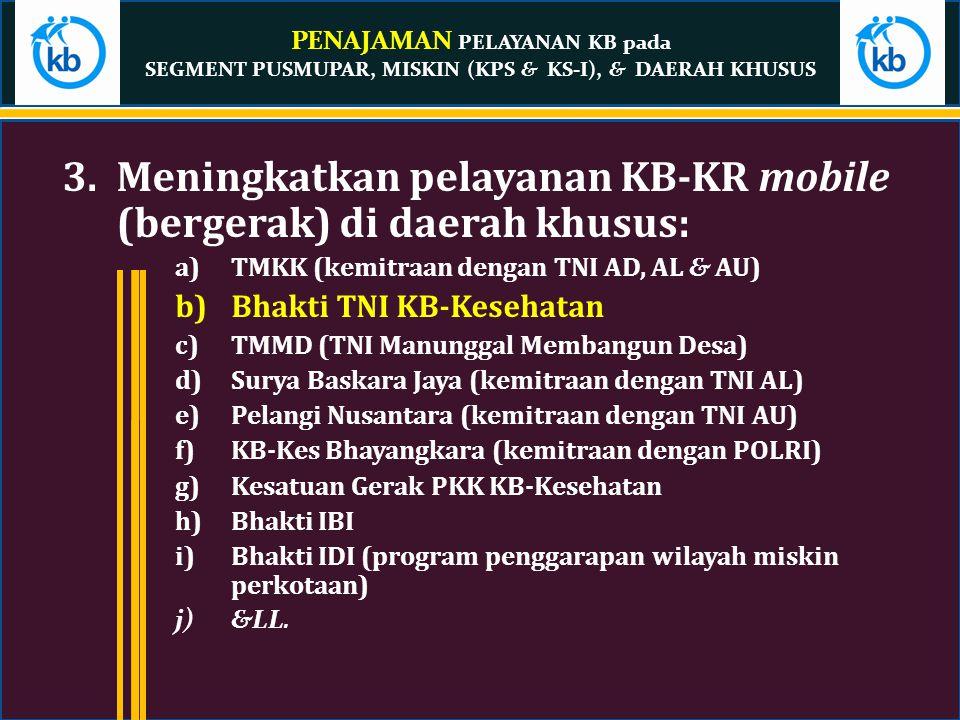 Meningkatkan pelayanan KB-KR mobile (bergerak) di daerah khusus:
