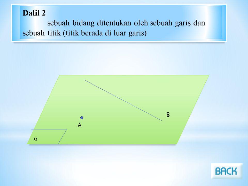 Dalil 2 sebuah bidang ditentukan oleh sebuah garis dan sebuah titik (titik berada di luar garis) α.