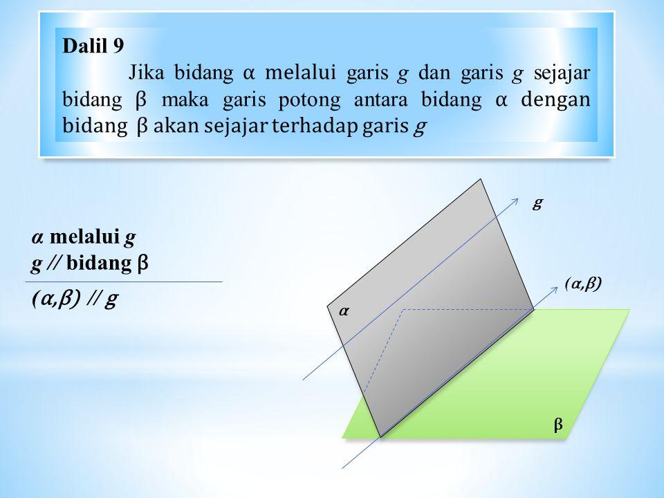 Dalil 9 Jika bidang α melalui garis g dan garis g sejajar bidang β maka garis potong antara bidang α dengan bidang β akan sejajar terhadap garis g.